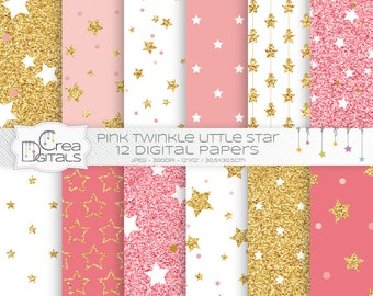 Pink and gold glitter twinkle little star digital papers - INSTANT DOWNLOAD