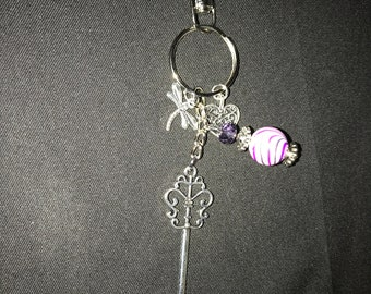 Heart dragonfly purse charm keychain