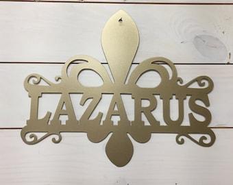 Belle- Fleur De Lis with Last Name Metal Sign