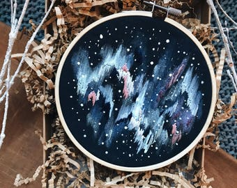 "Embroidery Hoop Art, ""An Evening in Iceland"""