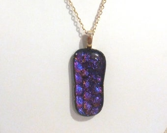 Dichroic glass pendant  / Purple and pink / Fused glass / 2 inches long