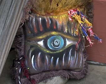 Frayed Pillow - Staring Eye