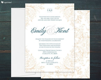Vintage Wedding Invitations, Filigree Wedding Invitation Suite, Baroque Wedding Invitations, Elegant Wedding Invitations, Ivory Invitations