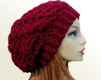 Slouchy Beanie Hat Wine Slouchie Beany Crochet Knit Slouch Burgundy Hat Womens Hat Burgandy Hat Soft Warm Winter Slouchy Beanie Hat