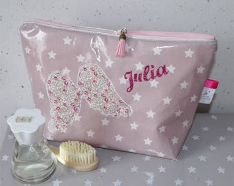 Toiletry bag cotton coated your choice, custom name and Angel Wings