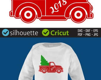 CHRISTMAS TREE TRUCK svg files Red Vintage Christmas truck 2018 svg clip art Winter Holidays Cricut cut files Silhouette designs Dxf Png Eps