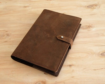 """Refillable Leather Journal, 8-1/2"""" X 5-1/2"""", Light Brown, Ready to Ship"""