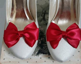 ON SALE Satin bow shoe clips wedding shoe clips Many color available