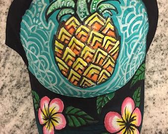 Pineapple, black light reactive, hand painted adjustable dad hat