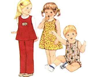 Childrens 1980s A Line Dress, Jumper or Overalls in 2 Lengths, Simplicity 5241 Pull On Pants and Top Toddler Size 2 Vintage Sewing Pattern