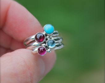 Birthstone Ring. three, four, five stone ring. Fairy Tale Ring. Sterling Silver. Mother's Ring. Family ring. Grandma. Sisters. Friendship