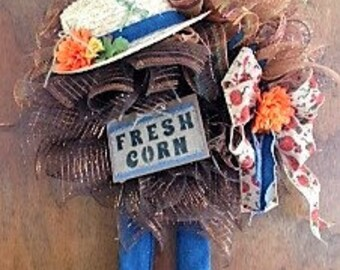 Scarecrow Wreath,Fall Decor,Fall Wreath