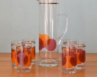 Vintage Crown jug & glasses Pitcher and tumblers