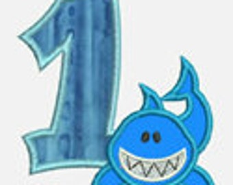 Shark Numbers 0-9 ...Embroidery Applique Design...Two sizes for multiple hoops...Item1530...INSTANT DOWNLOAD