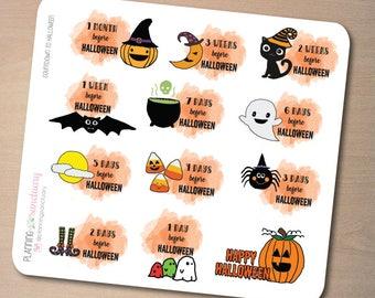 Countdown to Halloween Planner Stickers perfect for Erin Condren Life Planner, Kikki K, Filofax, Happy Planner, Mambi Planner