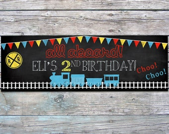 "Choo Choo Train Birthday Banner - All Aboard the Party Train - Personalized, Printable designs - Blackboard, 36"" X 12"""