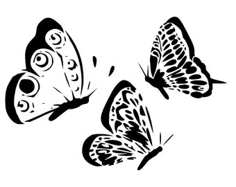 """5.8/8.3"""" Butterfly side view stencil collection. A5"""
