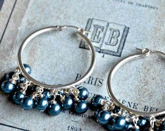 Gold Hoops with Blue-Gray Crystal Pearl