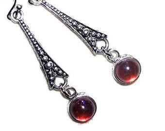 Art Deco Mexican Fire Opal EARRINGS Czech Glass DRAGONS BREATH Silver Pltd Leverback Dangle Drops
