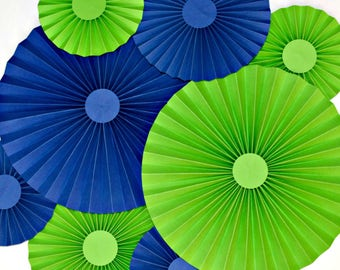 Blue and Lime Green Paper Fans, Rosettes, Pinwheels, Cake Backdrop, Party Decoration,