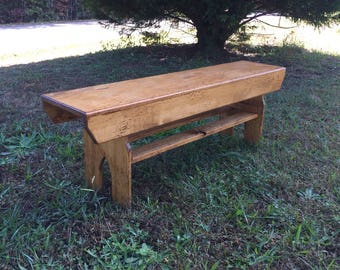 "Distressed 51"" Farmhouse Bench - 1 available to ship immediately, free shipping"