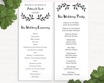 Modern Simple Wedding Ceremony Program Printable Typography