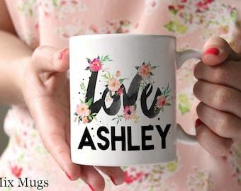 Personalized Coffee Mugs, Custom Name Mugs, Watercolor Floral Mug, Pretty Mugs, Coffee Mugs for Her, Wedding Gift, Personalized Gift (P1211)
