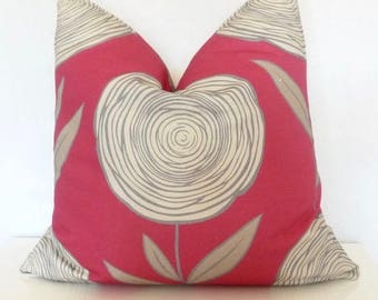 Red Grey Abstract Line Flower Floral Pillow - 20x20