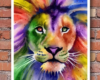 Lion Art Print - Watercolor - Abstract Painting - Wall Decor