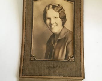 Loving the Hair - Lady -  1900s-1920s Antique Cabinet Card Photograph