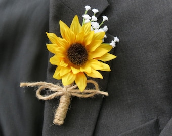 Sunflower Boutonniere, Sunflower Baby's Breath,  Twine Wrapped Boutonniere, White Accent Sunflower, Wedding Flower Made to Order