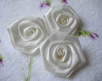 """1.5"""" Ivory Satin Ribbon Rose Appliques for Sewing, Wedding, Party Dresses, Hair accessories, Doll Clothing, Crafting, 12 pieces"""