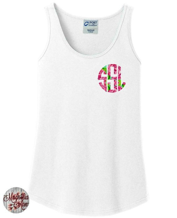 Custom Monogram Print Women's Tank Top in 6 Colors in Sizes Small-4X, Plus Sizes, Lilly Pulitzer Inspired