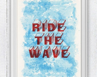 Surfing  print poster Ride the wave collage -Surf  Original illustration NTC046