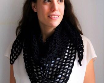 Black lacy shawl - merino wool