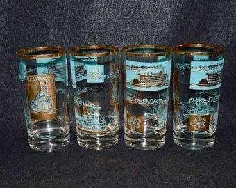 Steamship Design Tumblers, Mid Century Tumblers Juice Glasses, Federal Glass Tumblers, Gold and Aqua Design, Paddleboat Steamship Pattern