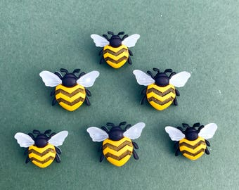 Bee Buttons - Dress it Up Bee Happy Novelty Buttons - Large Bees - Nature Crafts - Wildlife Embellishment - Insect Buttons