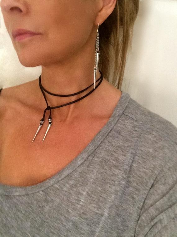 Choker Necklace Leather Choker Vegan Suede Spike Boho Choker Lariat Tie Necklace Gift for Her Under 20 Long Modern Minimalist Bullet Dagger