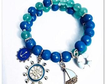 Nautical Themed Beaded Charm Bracelet