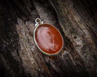 Carnelian Silver Pendant - Indian-Silver - Jewelry - Minimal - Gemstone - Mineral - Handmade