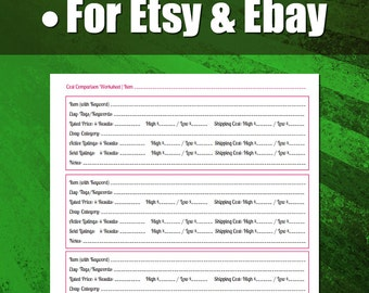 Cost Comparison Worksheet and Video Walkthrough for Etsy and Ebay Pricing | For Etsy Sellers, For Ebay Sellers, Vintage Sellers and Pickers