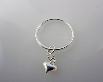 Sterling Silver-Heart-Charm-Ring