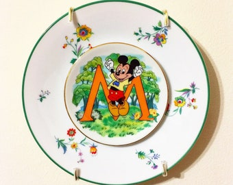 Mickey Mouse • Disney Wall Plate • Disneyland • Vintage • Floral • Repurposed China • Wall Art • Disney Lover