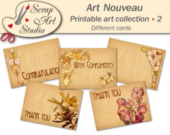Printable art nouveau thank you card gift tags compliments congratulation signed and blank card different vintage floral design free sheet