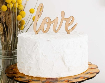 Love Cake Topper, Bamboo Wood Cake Topper, Wedding Cake Topper, Anniversary Cake Topper, Birthday Cake Topper