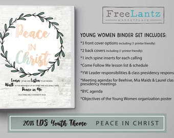 YW presidency binder, 2018 lds theme, peace in Christ, lds young women, binder covers, lds yw values, lds printables, lds download, lds