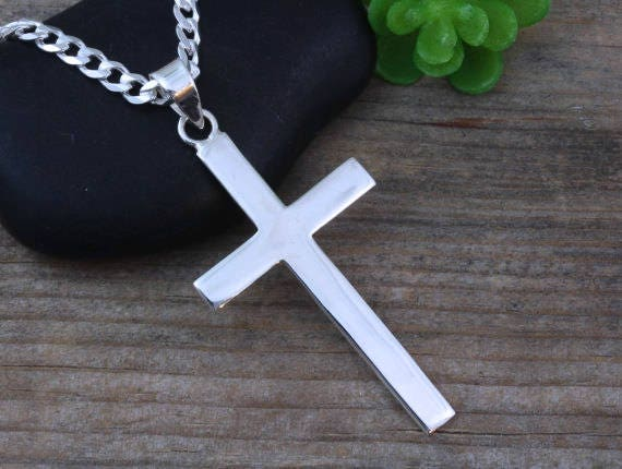 Mens necklace large sterling silver cross men sterling plain mozeypictures Image collections