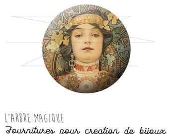Cabochon 25 mm woman Art Alfred Mucha ref 1160c fancy