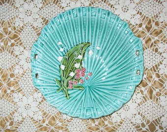 """Vintage Majolica - Lily of the Valley Ceramic Plate, Hand Painted 4583, Made in Germany,  Openwork Sides, 7 3/4"""" Diameter"""