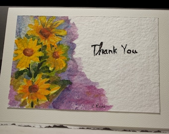 Hand Painted Greeting Card, Thank You Card,  Blank Card, Original Watercolor Card, Yellow Daisies, Floral, Free Shipping